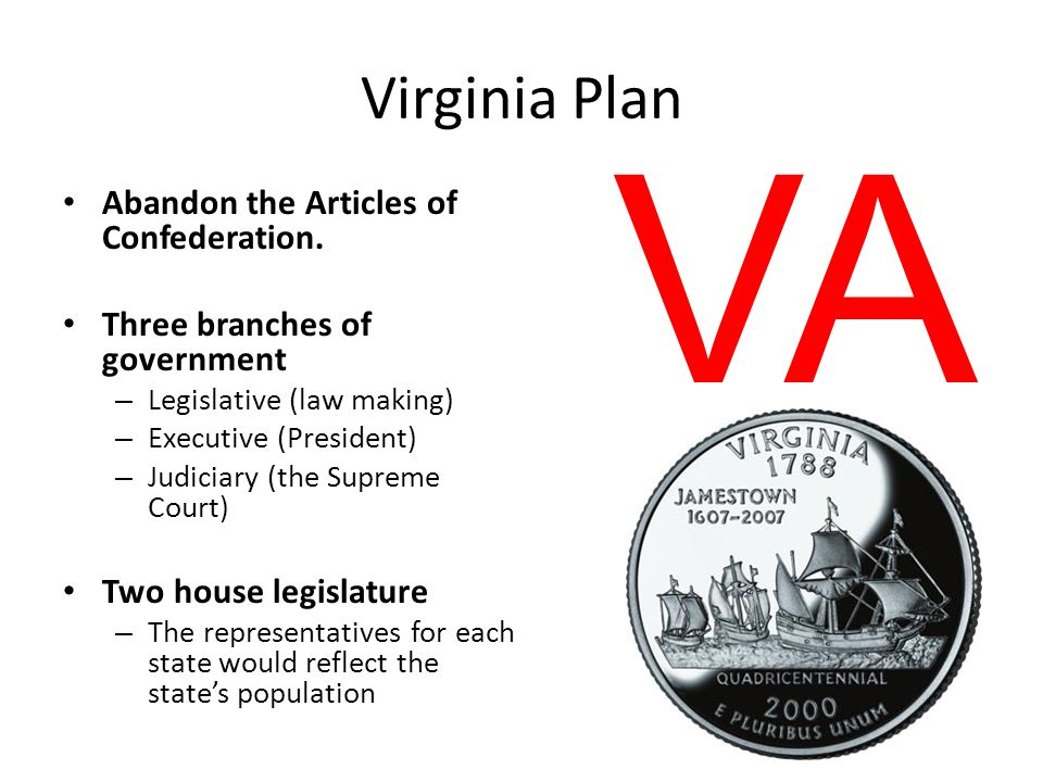 VA Virginia Plan Abandon the Articles of Confederation.