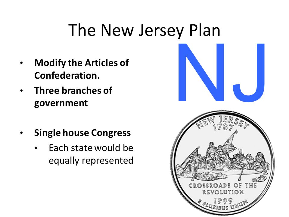 NJ The New Jersey Plan Modify the Articles of Confederation.