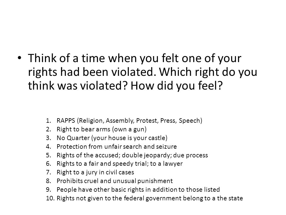 Think of a time when you felt one of your rights had been violated