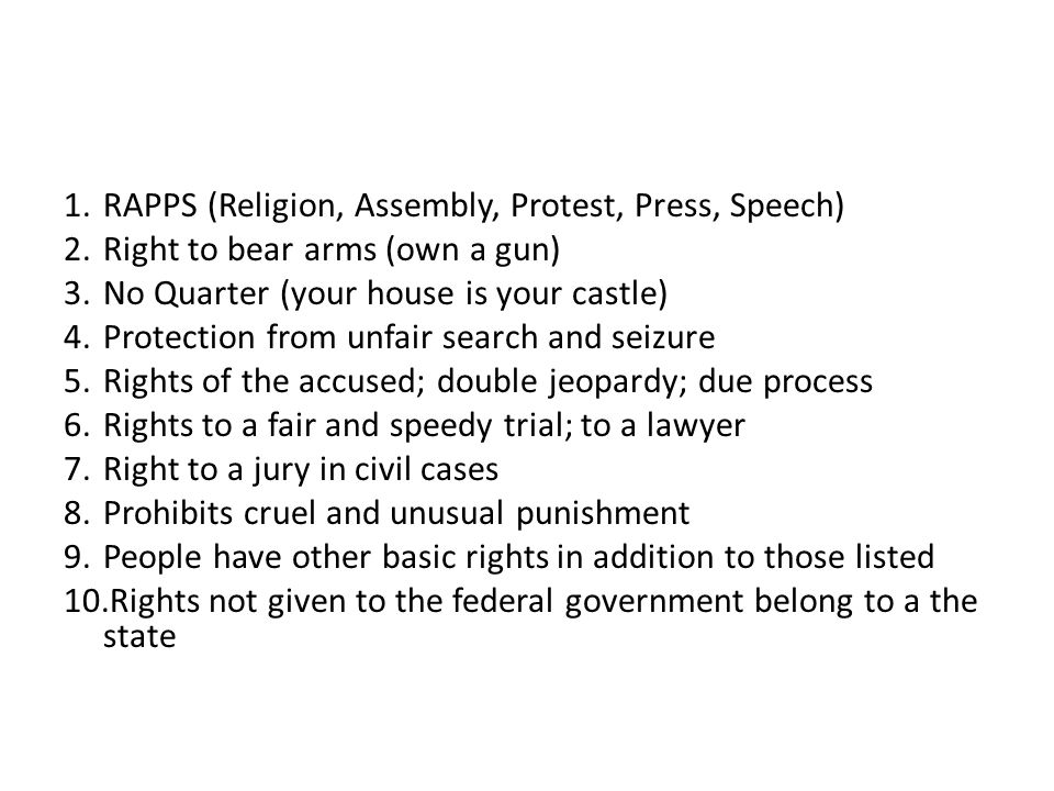 RAPPS (Religion, Assembly, Protest, Press, Speech)