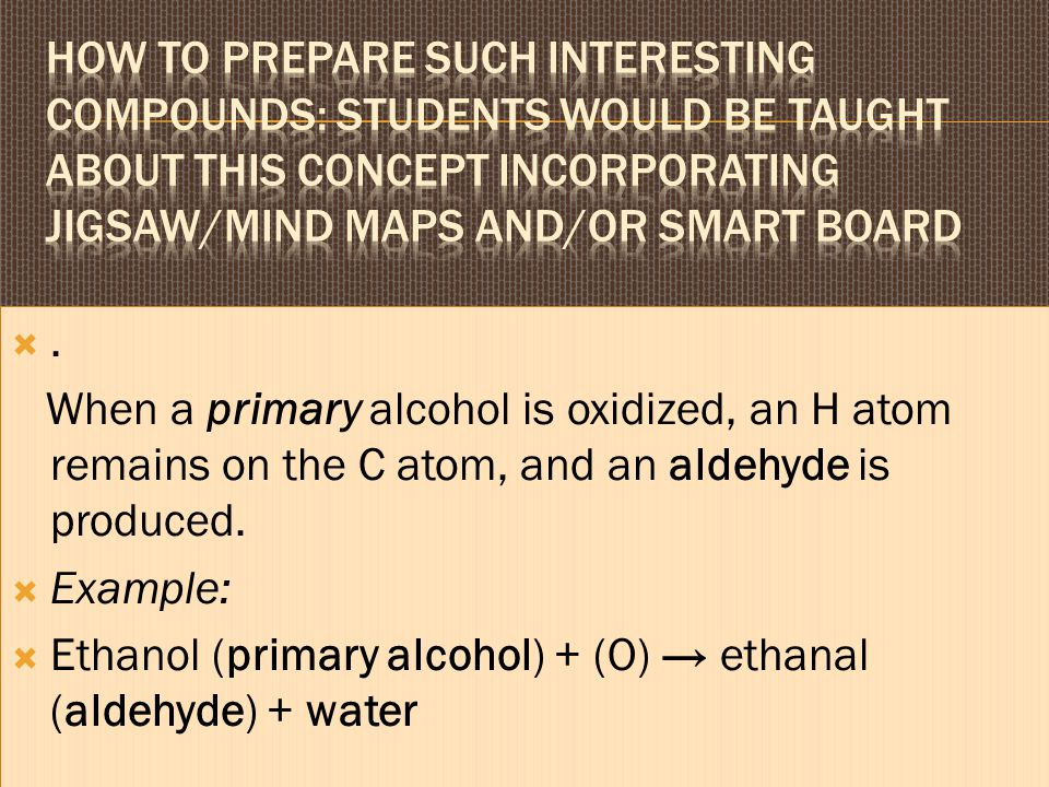 How to prepare such interesting compounds: Students would be taught about this concept incorporating jigsaw/mind maps and/or smart board