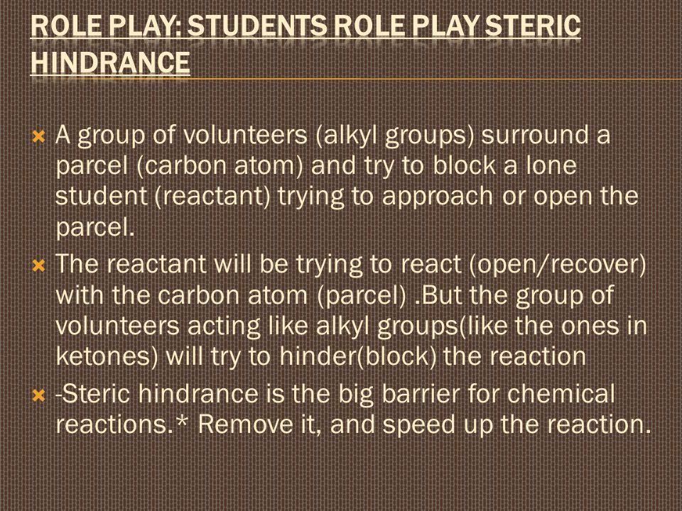 Role play: Students role play steric hindrance