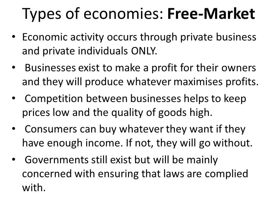 Types of economies: Free-Market