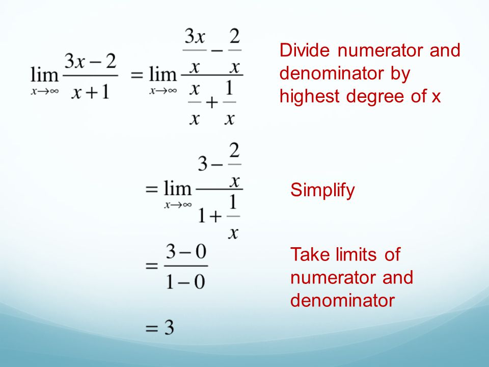 Divide numerator and denominator by highest degree of x