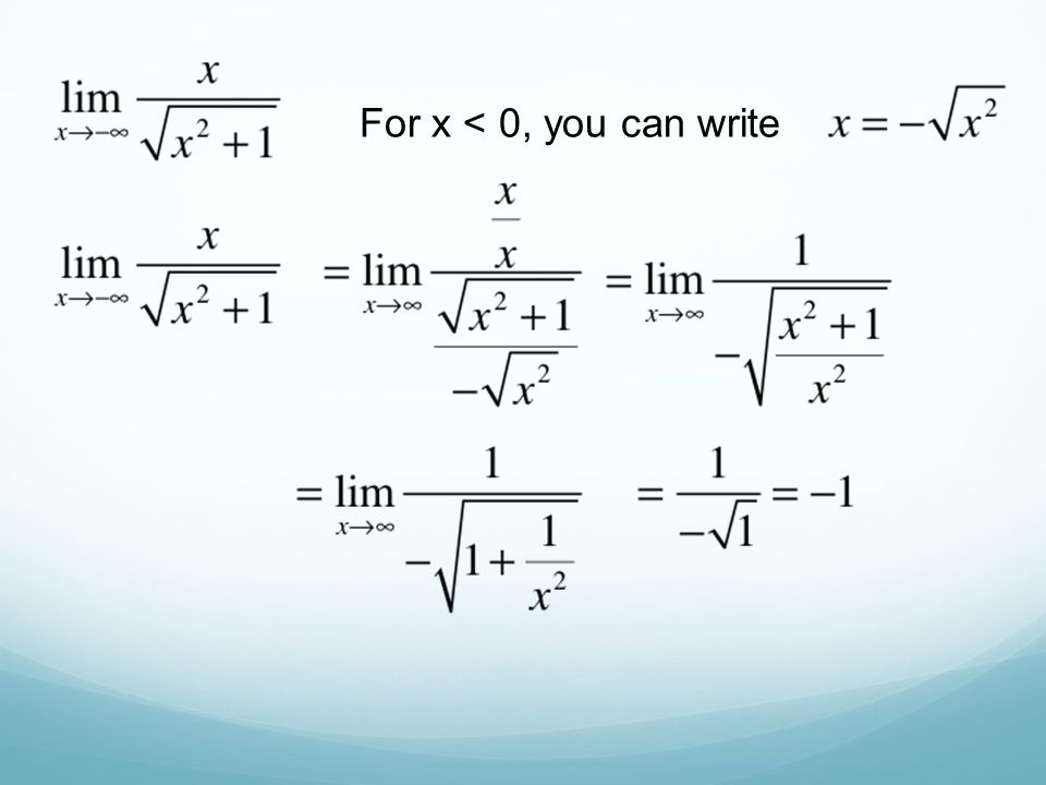 For x < 0, you can write