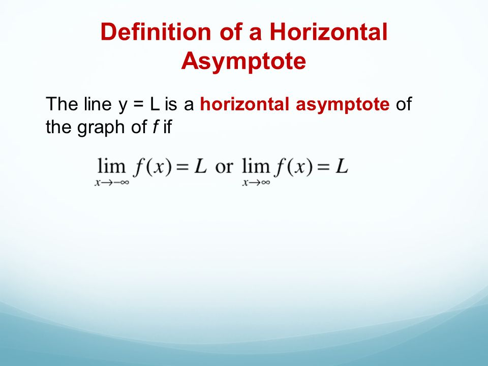 Definition of a Horizontal Asymptote