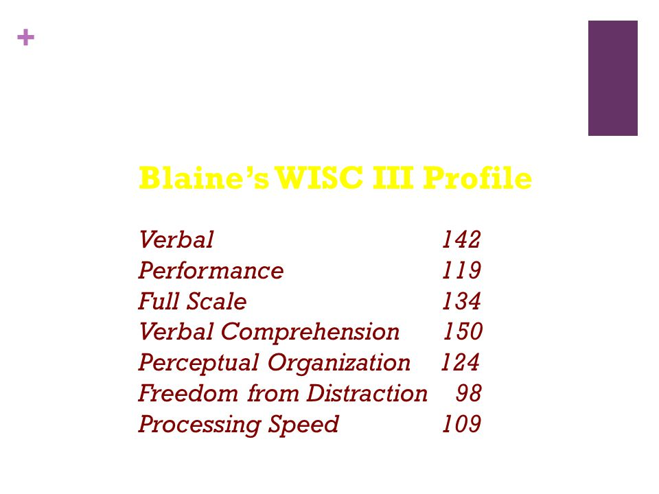 Blaine's WISC III Profile Verbal. 142 Performance. 119 Full Scale