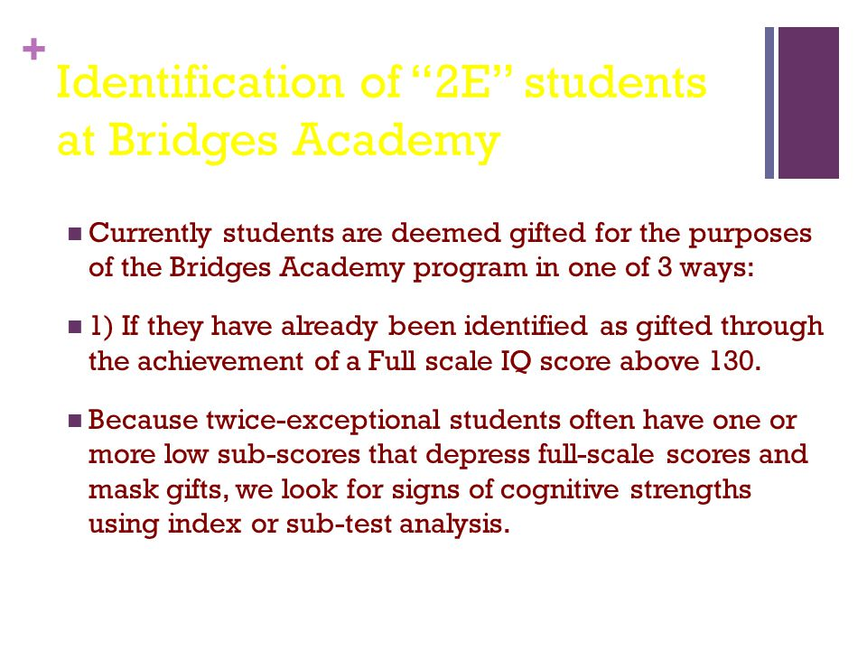 Identification of 2E students at Bridges Academy