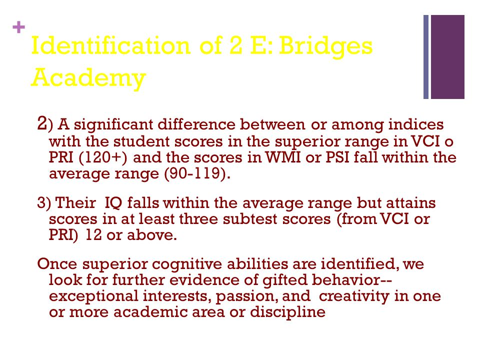 Identification of 2 E: Bridges Academy
