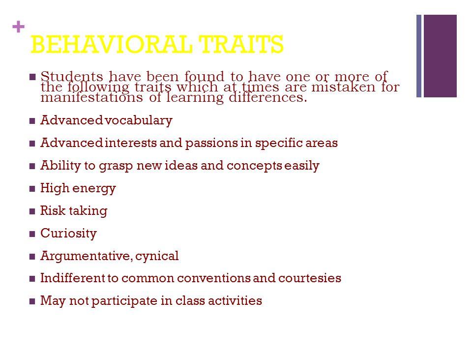 BEHAVIORAL TRAITS