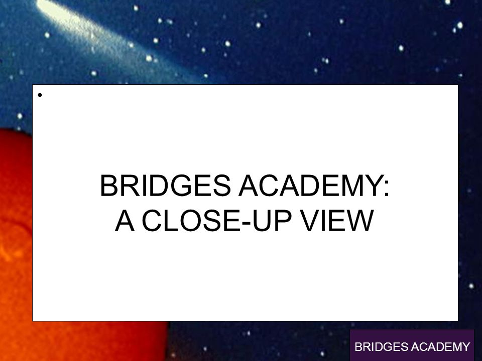 p BRIDGES ACADEMY: A CLOSE-UP VIEW BRIDGES ACADEMY
