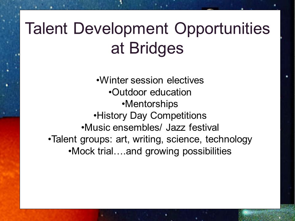 Talent Development Opportunities at Bridges