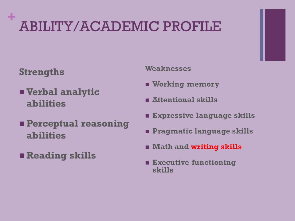ABILITY/ACADEMIC PROFILE