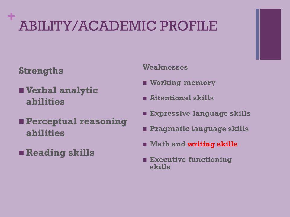 ABILITY/ACADEMIC PROFILE