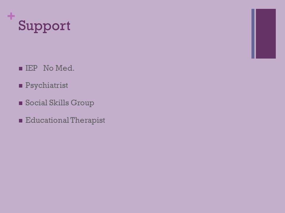 Support IEP No Med. Psychiatrist Social Skills Group