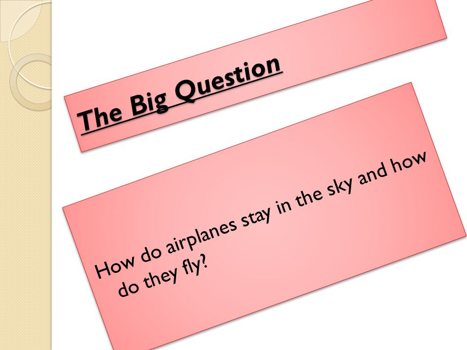 The Big Question How do airplanes stay in the sky and how do they fly