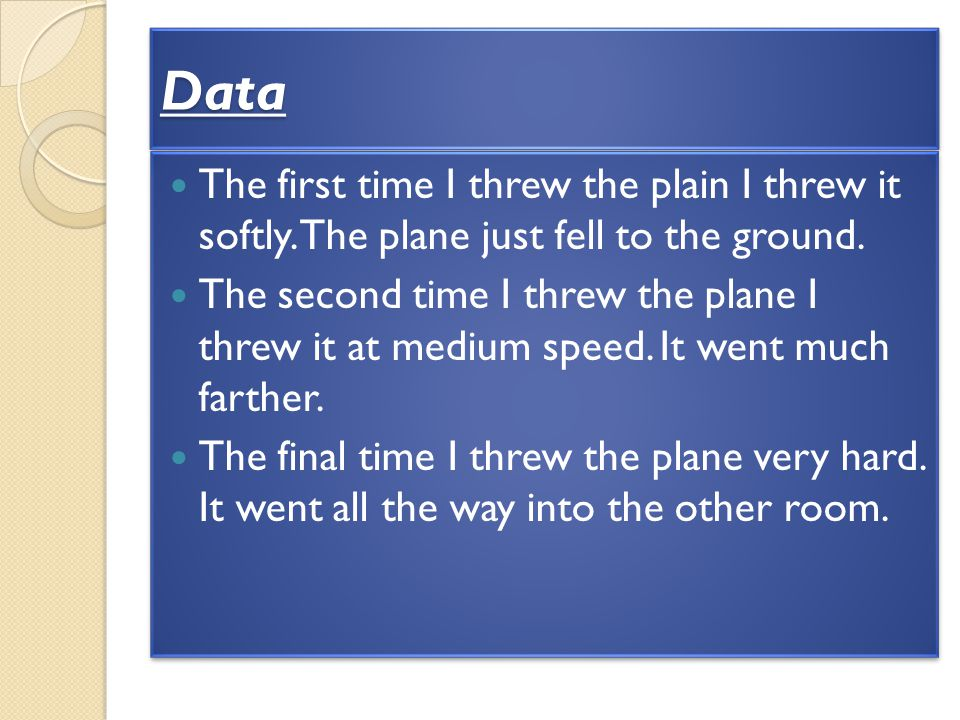 Data The first time I threw the plain I threw it softly. The plane just fell to the ground.