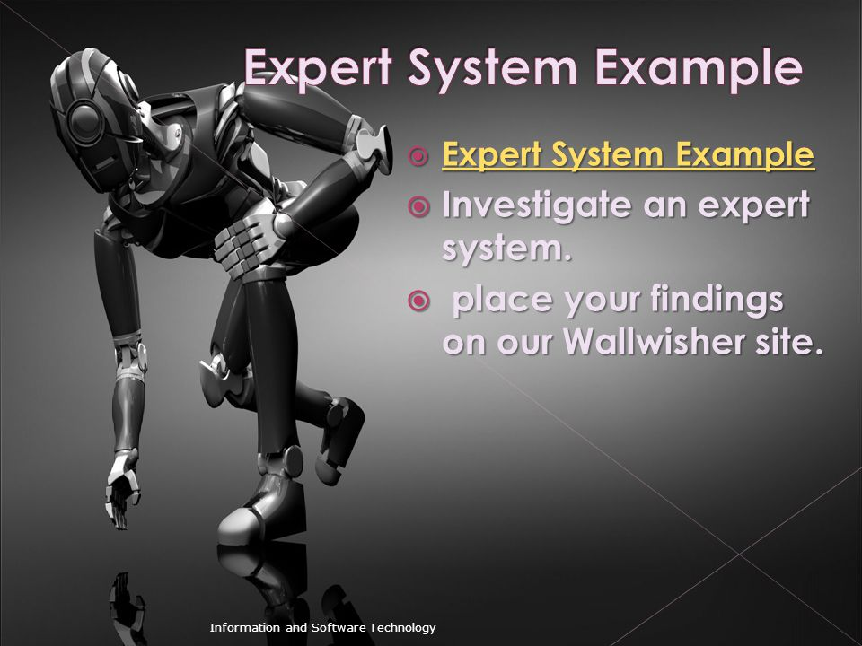Expert System Example Investigate an expert system.