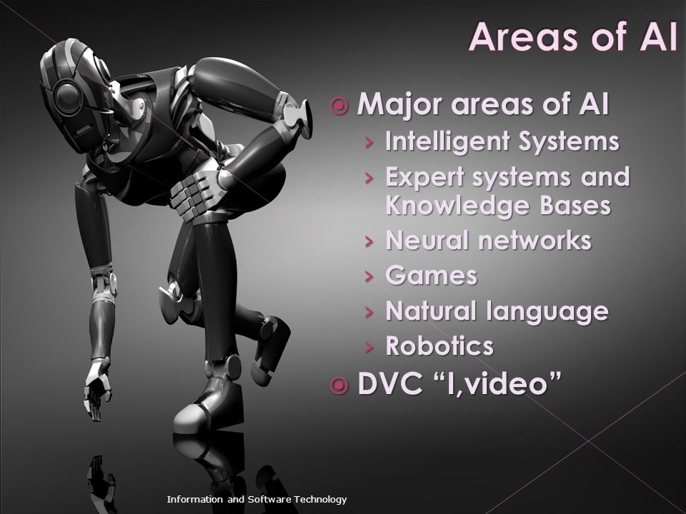 Areas of AI Major areas of AI DVC I,video Intelligent Systems