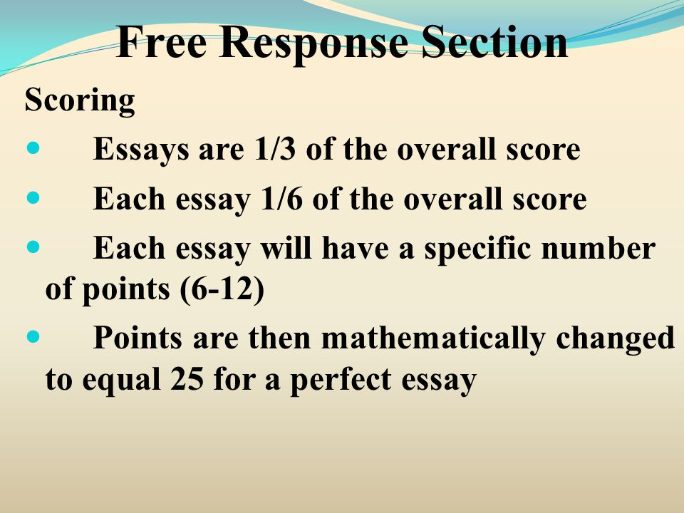 Free Response Section Scoring Essays are 1/3 of the overall score
