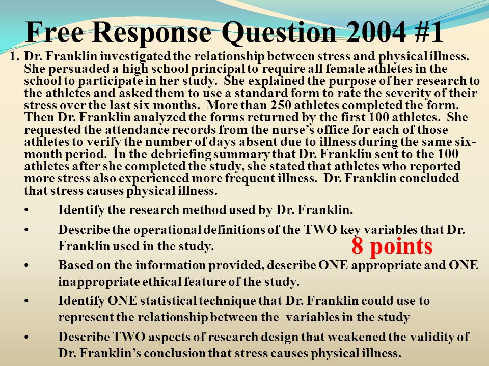 Free Response Question 2004 #1