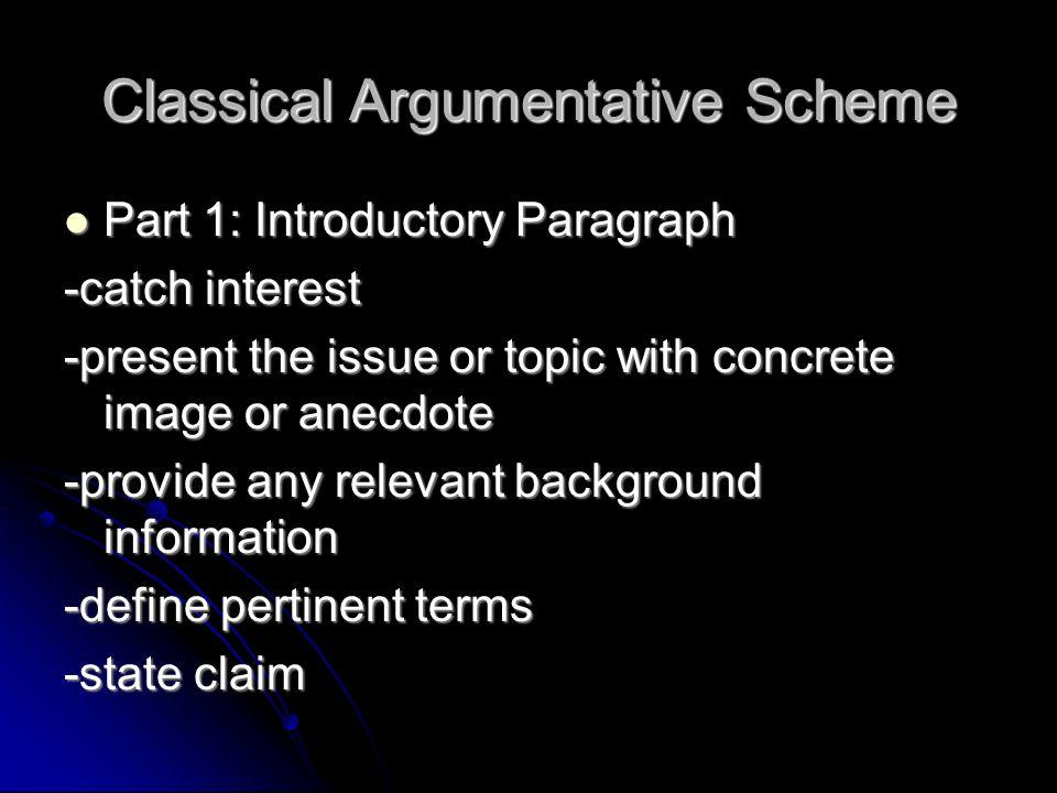 Classical Argumentative Scheme
