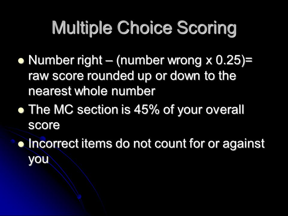 Multiple Choice Scoring