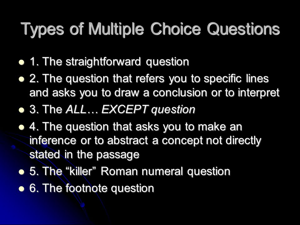 Types of Multiple Choice Questions