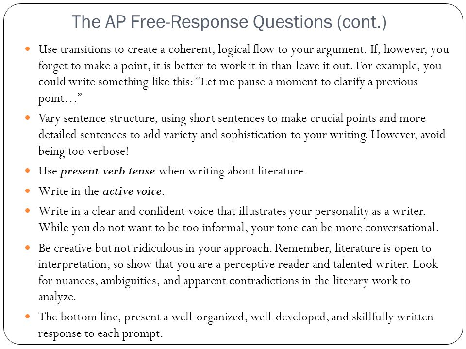 The AP Free-Response Questions (cont.)