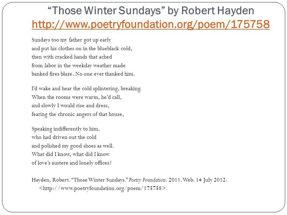 robert hayden those winter sundays