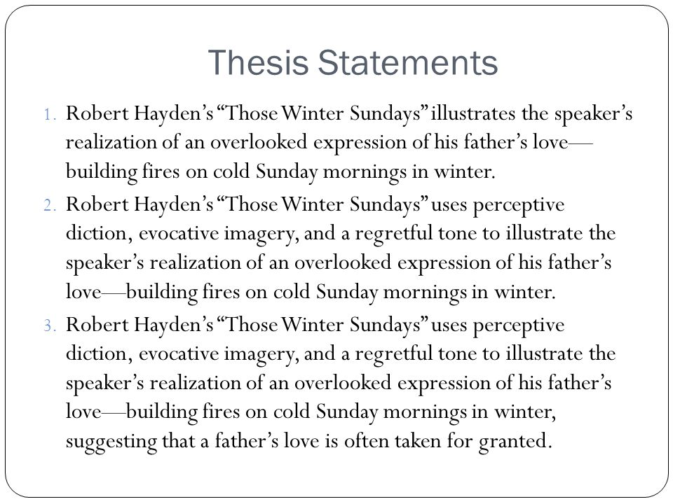 robert haydens those winter sundays essay Those winter sundays essay examples 27 total results an analysis of robert hayden's poem those winter sundays 1,183 words  the depiction of childhood in theodore roethe's my papa's waltz and robert hayden's those winter sundays 874 words 2 pages an analysis of those winter sundays, a poem by robert hayden 1,086 words.