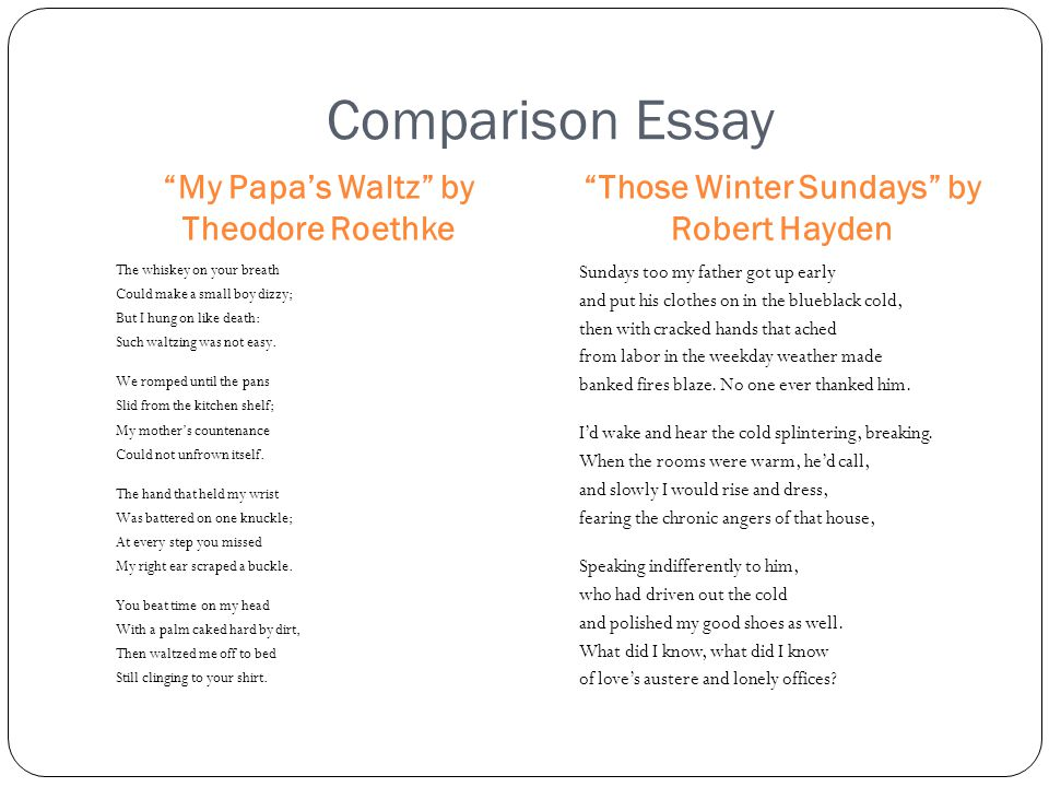 comparison my father s song and my papa s waltz Literature & composition: reading • writing • thinking carol jago,  my father's song  my papa's waltz.