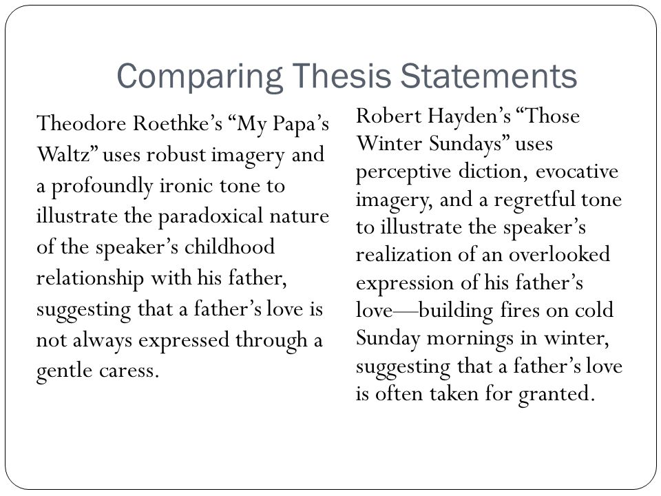 Comparing Thesis Statements