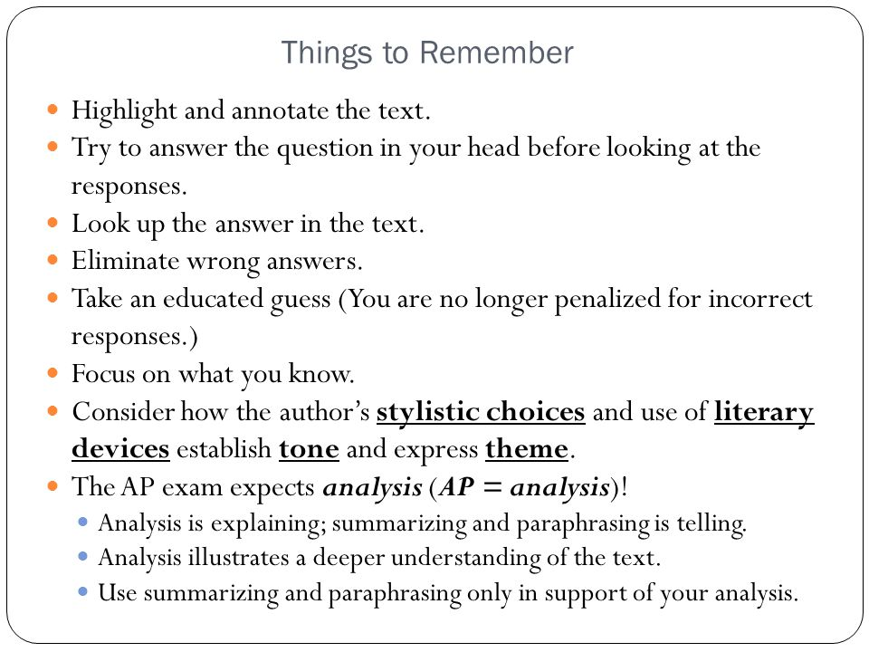 Things to Remember Highlight and annotate the text.