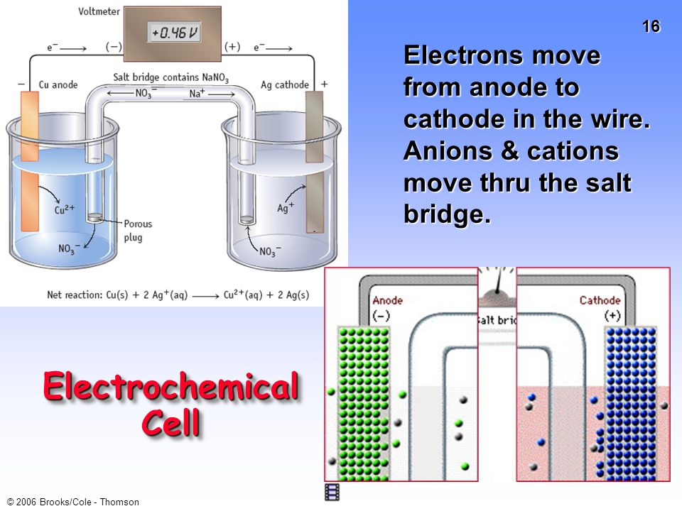 Electrochemical Cell Electrons move from anode to cathode in the wire.