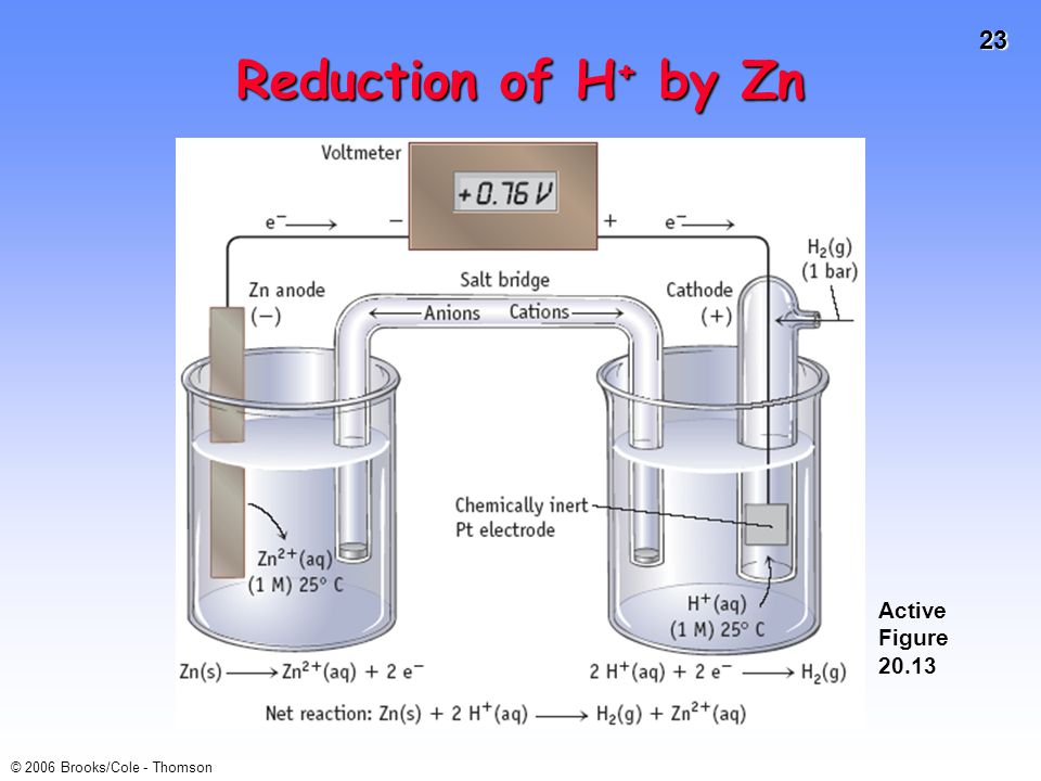 Reduction of H+ by Zn Active Figure 20.13