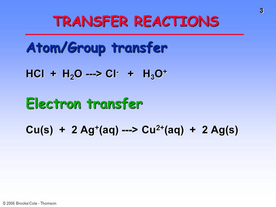 TRANSFER REACTIONS Atom/Group transfer Electron transfer