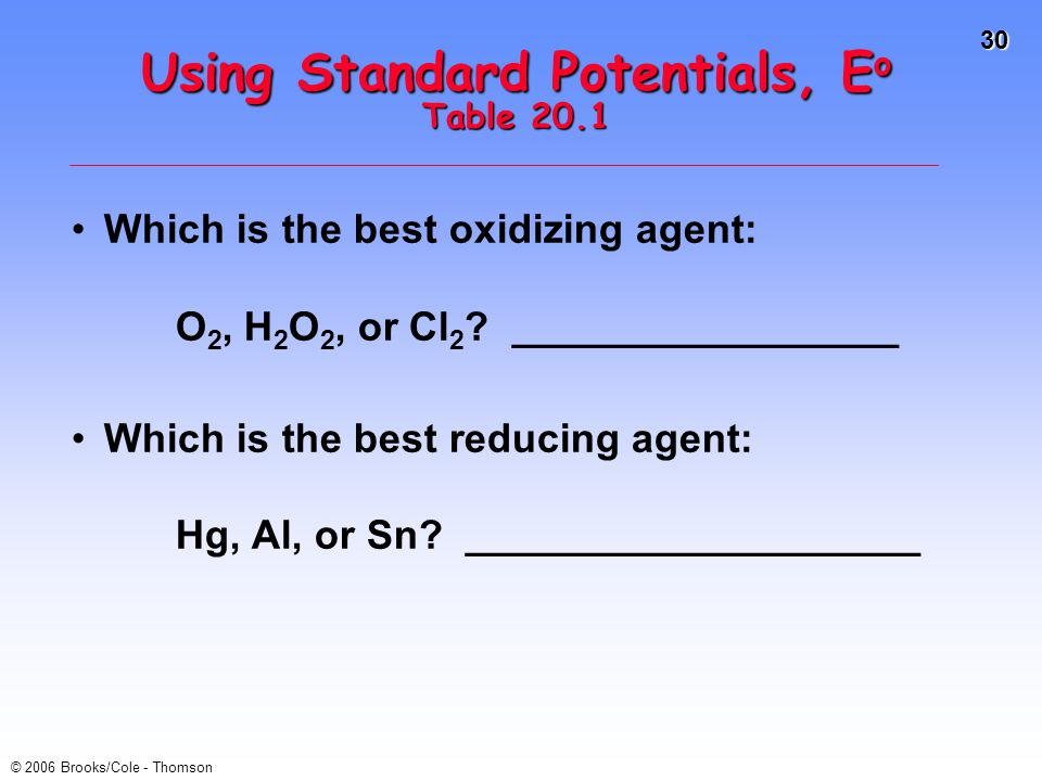 Using Standard Potentials, Eo Table 20.1