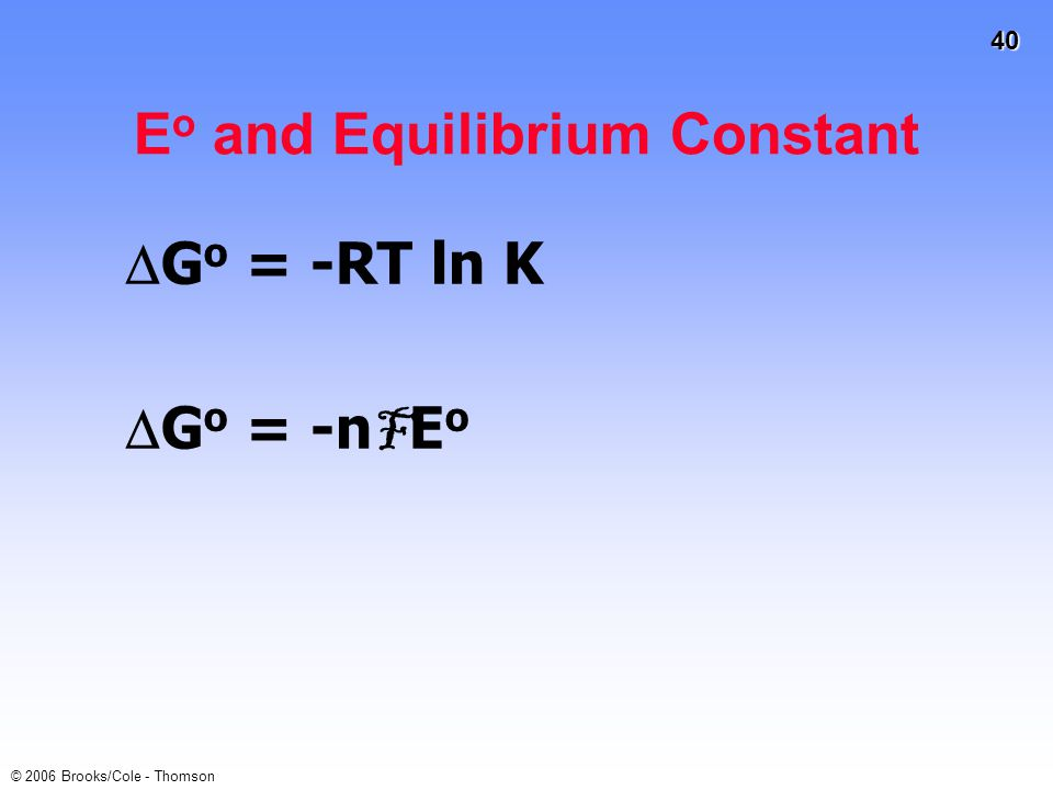 Eo and Equilibrium Constant