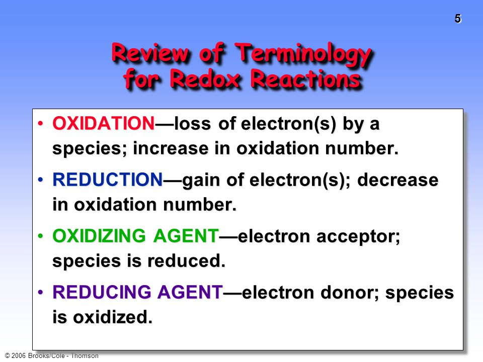 Review of Terminology for Redox Reactions