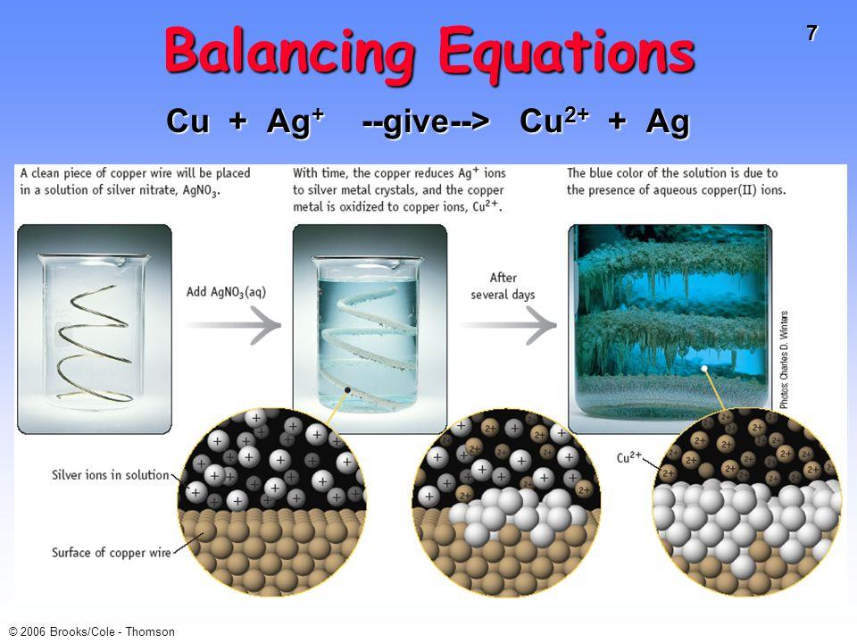 Cu + Ag+ --give--> Cu2+ + Ag