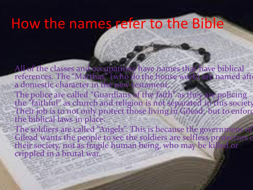 How the names refer to the Bible