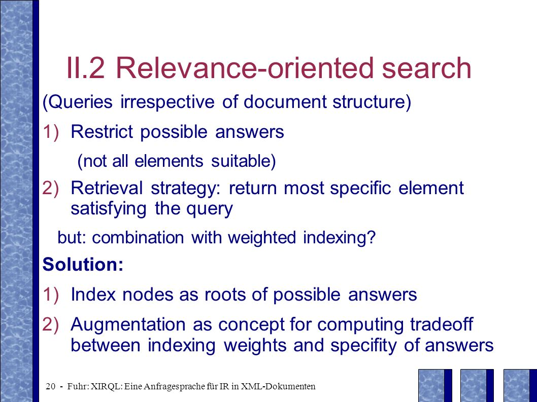 II.2 Relevance-oriented search