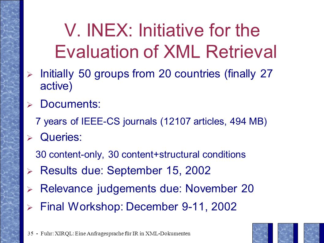 V. INEX: Initiative for the Evaluation of XML Retrieval
