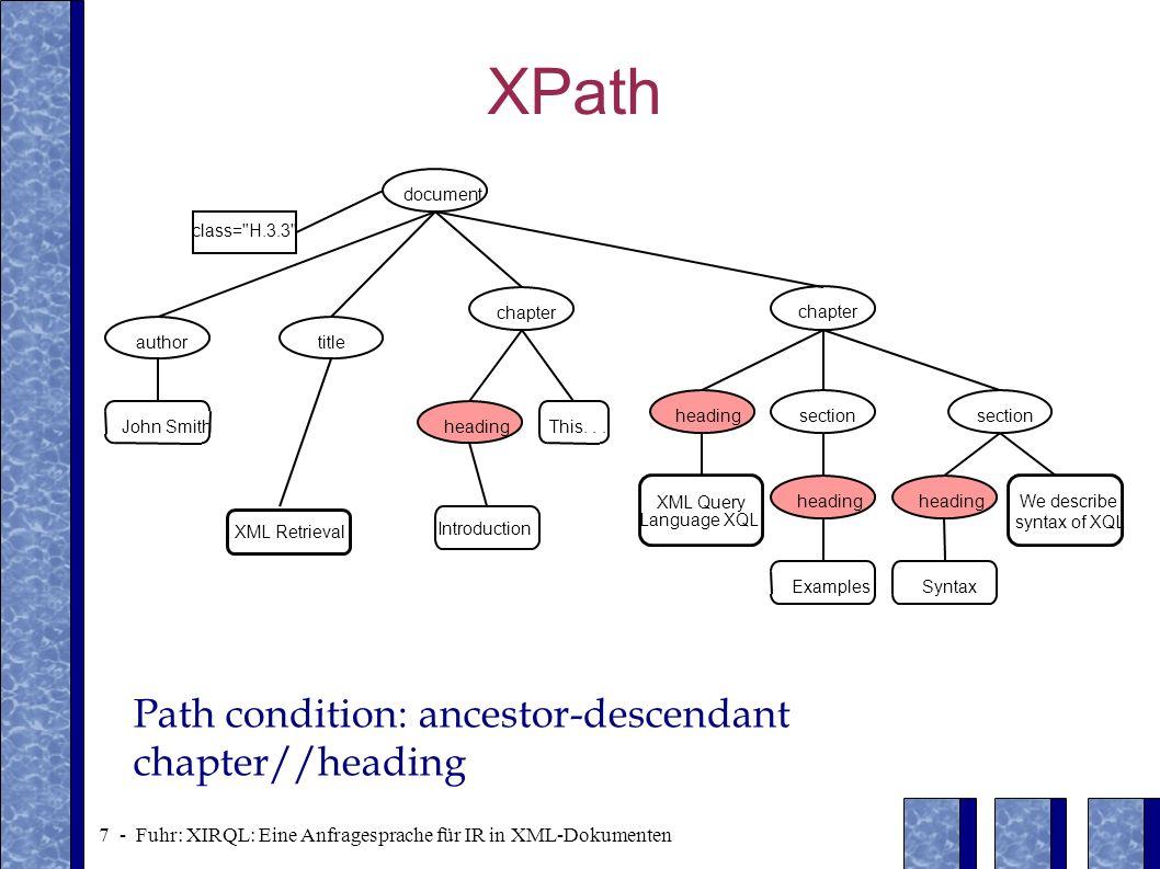 XPath Path condition: ancestor-descendant chapter//heading document