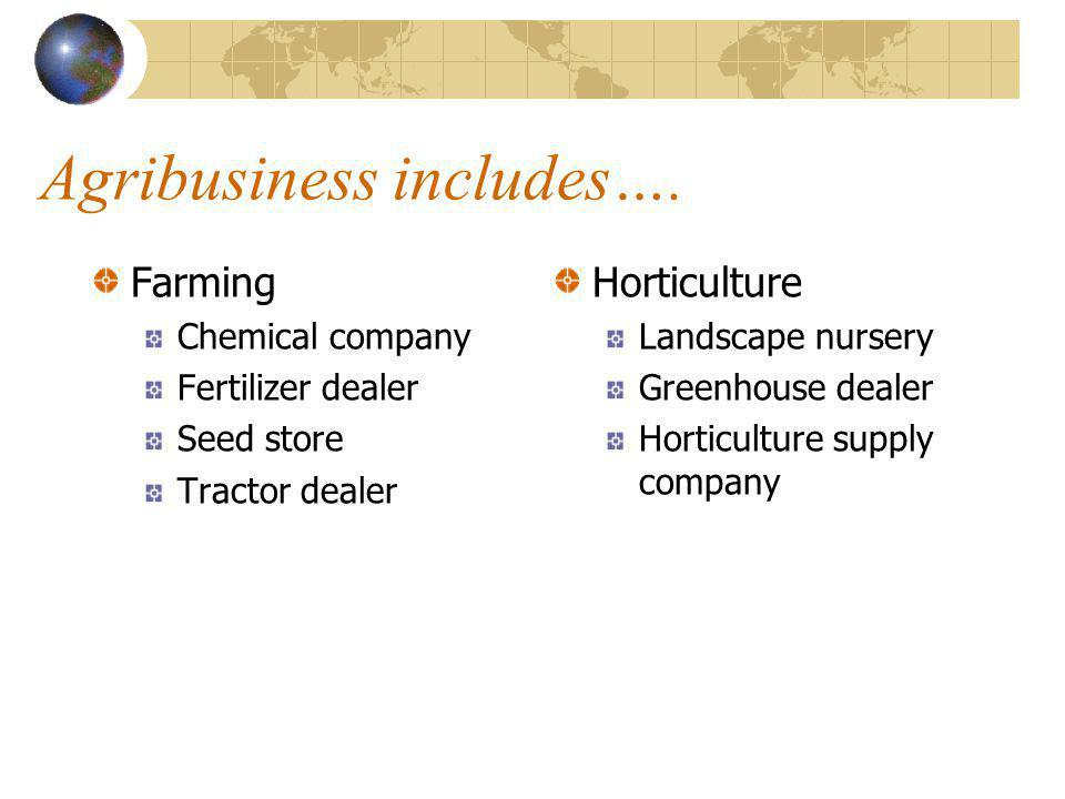 Agribusiness includes….
