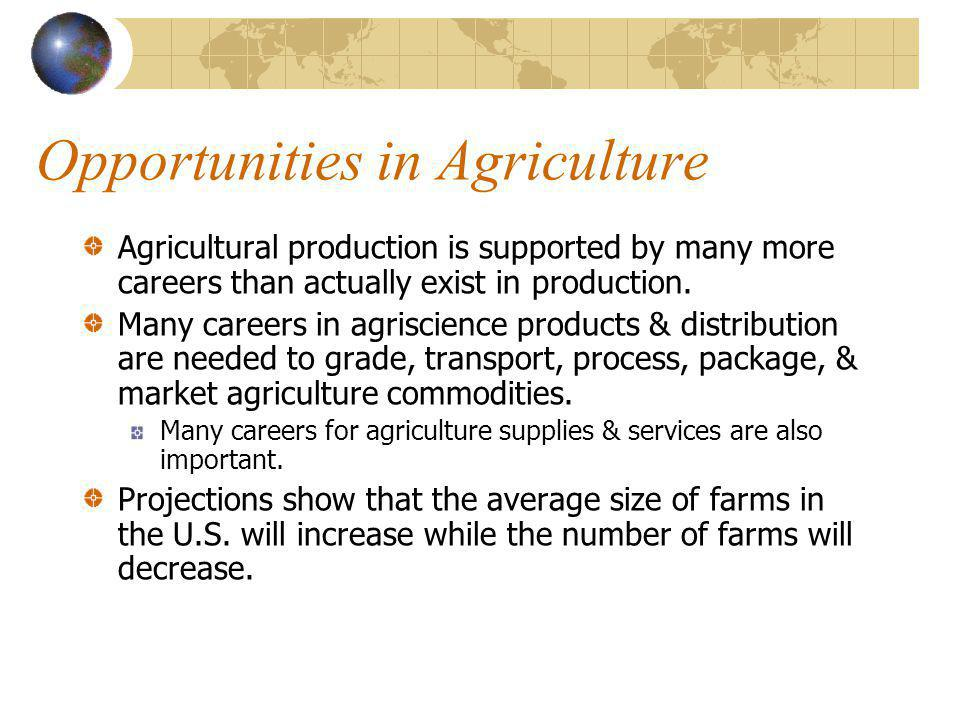 Opportunities in Agriculture