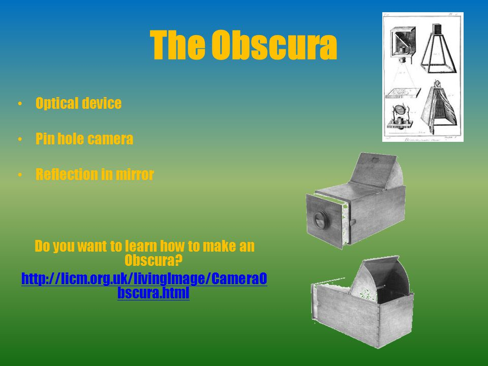 Do you want to learn how to make an Obscura