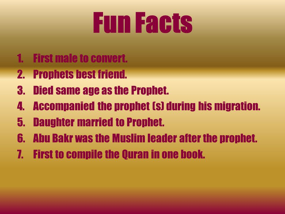 Fun Facts First male to convert. Prophets best friend.