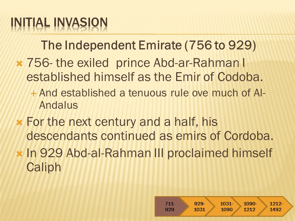 The Independent Emirate (756 to 929)